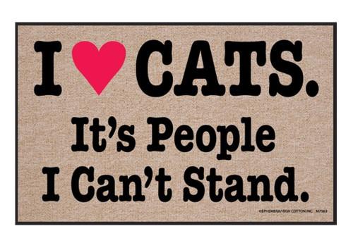 I Heart Cats. It's People I Can't Stand. Humorous Indoor/Outdoor Doormat