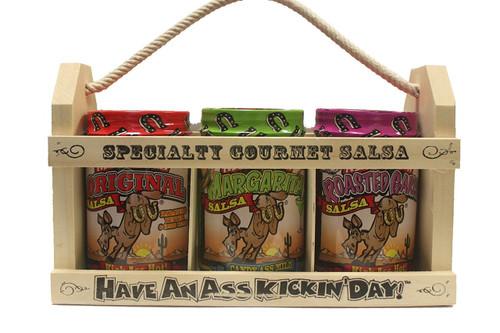 Ass Kickin' Salsa Gift Set - In a Wooden Crate! What a great gift idea! One 13 ounce Ass Kickin' Original Salsa, one 13