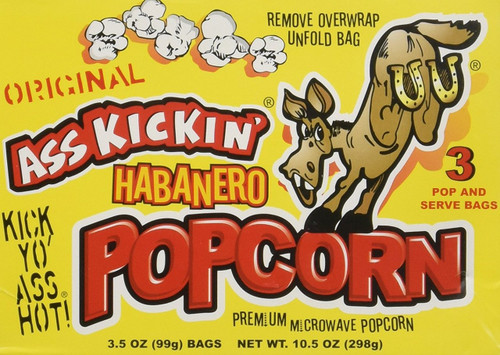 Ass Kickin' Habanero Popcorn 3-Pack (3.5oz per bag)- Put a little Ass Kickin' in your favorite movie! This popcorn is se