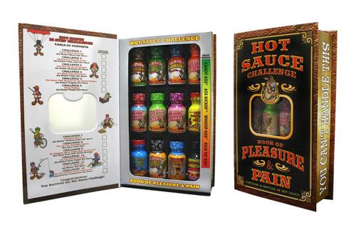 Ass Kickin Hot Sauce Challenge Book of Pleasure & Pain 12 Pack Gift Set Assorted