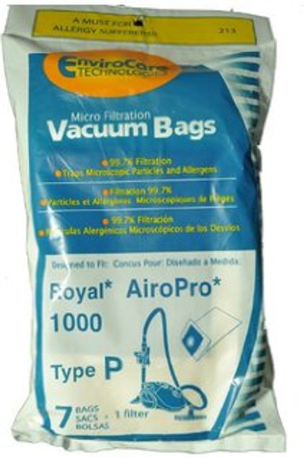 Royal AiroPro Type P Vacuum Bags 7 Pack + 1 Filter by Envirocare