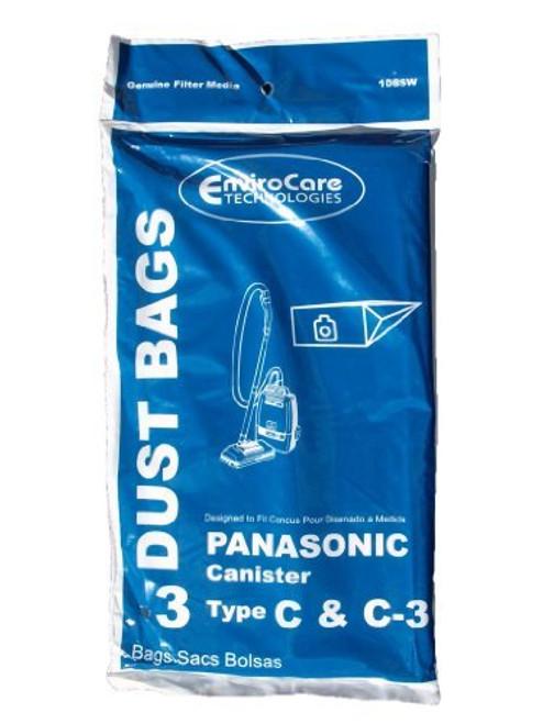 15 Panasonic Type C C-3 C3 Allergy Vacuum Bags, Canisters Vacuum Cleaners, MC-125P, MC125P, MC771, MC772, MC8310, MC8320