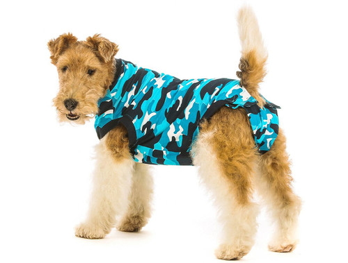 Suitical Recovery Suit for Dogs - Blue Camo - size Small+ (plus)