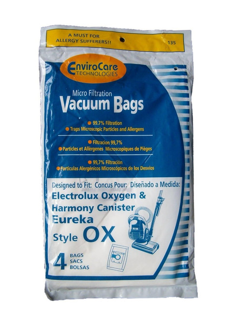 Electrolux Harmony/Oxygen Canister Micro-Filtration Vacuum bags - 4 Pack (Desigend to fit Eureka #61230B, Electrolux EL2