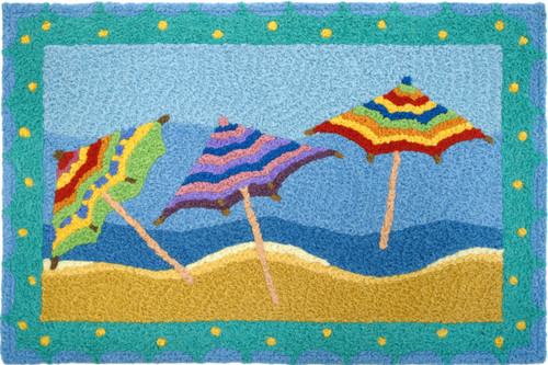 "Indoor Outdoor Machine Washable Rug - Beach Umbrellas 21"" X 33"""