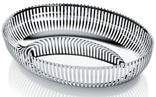 Alessi Oval Basket in 18/10 Stainless Steel Mirror Polished, Silver