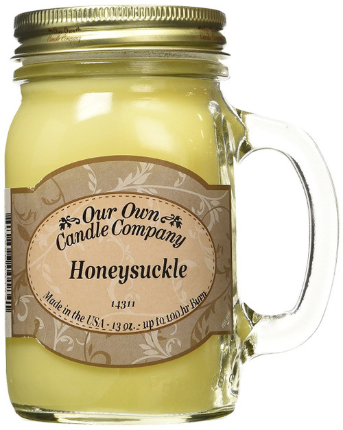 Honeysuckle Scented 13 Ounce Mason Jar Candle By Our Own Candle Company