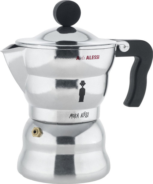 """Alessi AAM33/3 """"Moka"""" Stove Top Espresso 3 Cup Coffee Maker in Aluminium Casting Handle And Knob in Thermoplastic Resin,"""