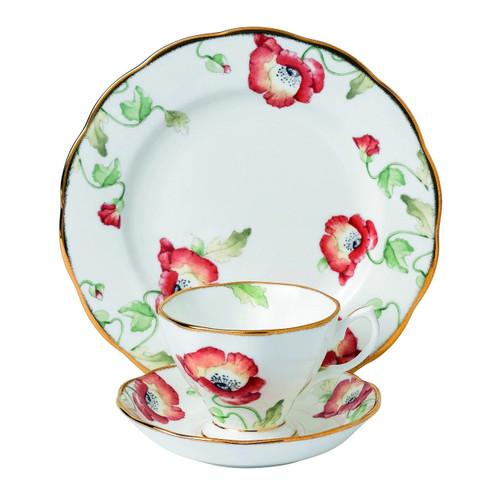 "Royal Albert 3 Piece 100 Years 1970 Teacup, Saucer & Plate Set, 8"", Multicolor"