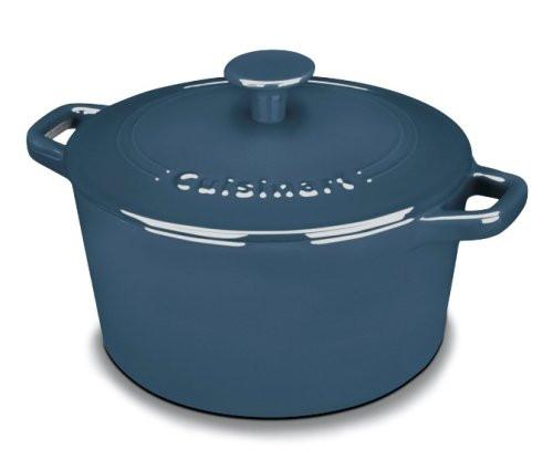 Cuisinart CI630-20BG Chef's Classic Enameled Cast Iron 3-Quart Round Covered Casserole, Provencal Blue