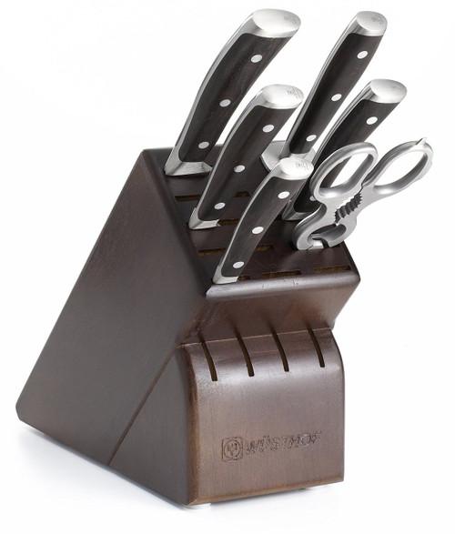 Wusthof Ikon 7-Piece Knife Set with Blackwood Handles and Storage Block