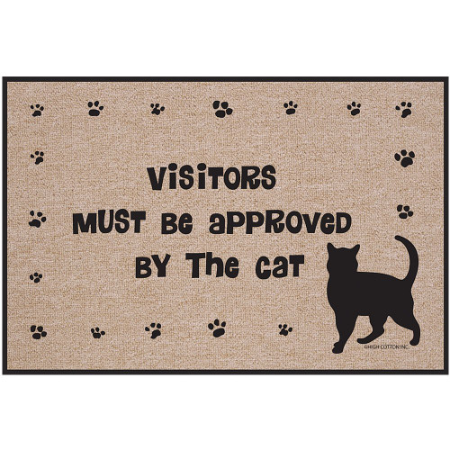 Visitors Must Be Approved By The Cat Doormat - Kitty Paws Welcome Rug