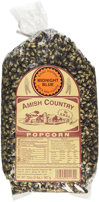 Amish Country Popcorn Midnight Blue Non GMO Small Hulless (2 Pounds)
