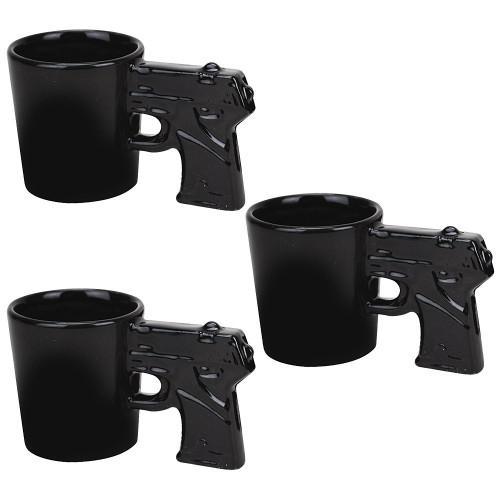(Set of 3) Gun Shot Glasses: 1.5 oz. Pistol Shaped Ceramic Shooters