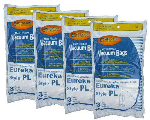 12 Eureka Electrolux Style PL Upright Vacuum Bags, Bagged Uprights, Maxima Vacuum Cleaners, 62389, 62389A, EU-62389, 623