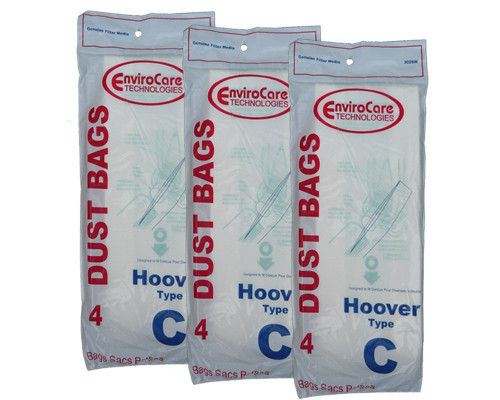 12 Hoover Type C Vacuum Bags for Convertible Upright, Bottom Fill Convertible, Lightweight, O/S Vacuum Cleaners, 43651-0