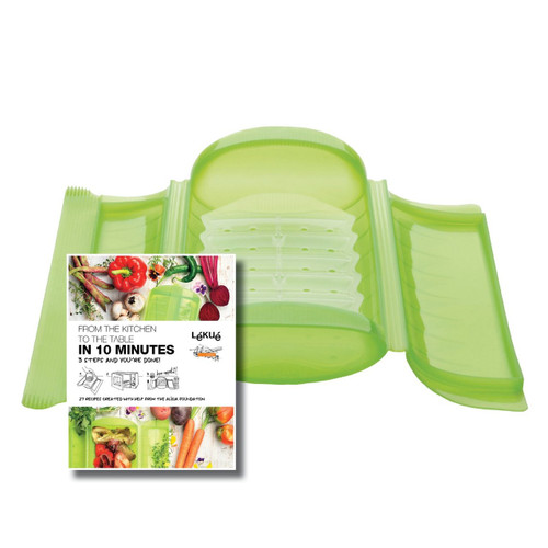 Lekue 3-4 Person Steam Case With Draining Tray and Bonus 10 Minute Cookbook, Green