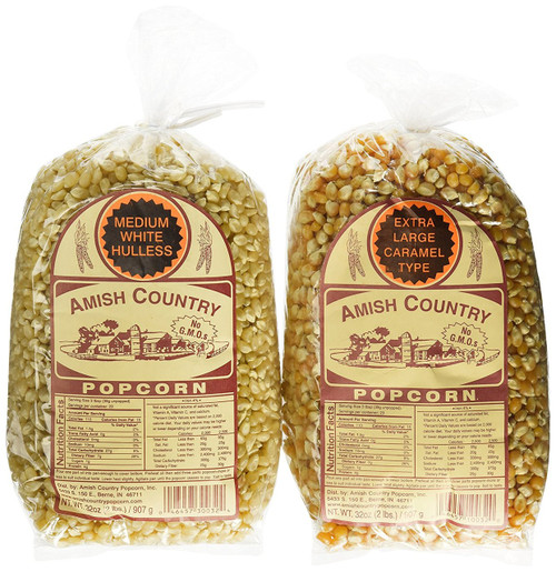 Amish Country Popcorn Variety 2 Bags 2 Lbs Each Total 4 Lbs Non Gmo, Extra Large Caramel Type, Medium White Hulless