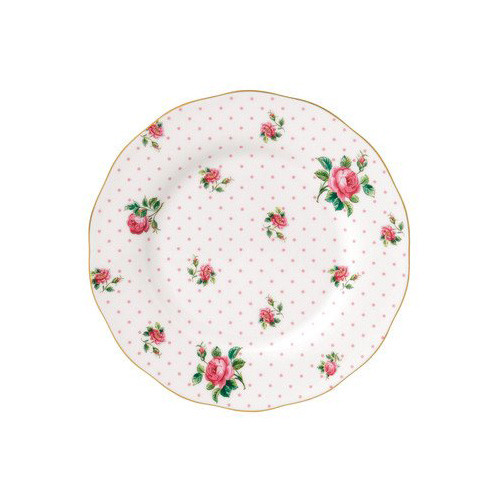 """Royal Albert China New Country Roses Cheeky Vintage Salad Plate, 8.3"""", White/Pink"""