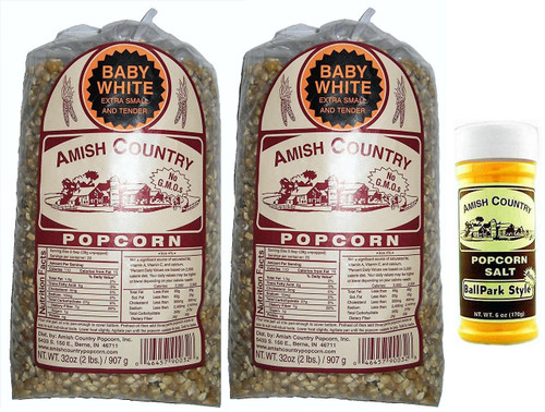 "Amish Country Popcorn ""Hulless"" Baby White (4 Pounds) with Butter Popcorn Seasoning Salt"