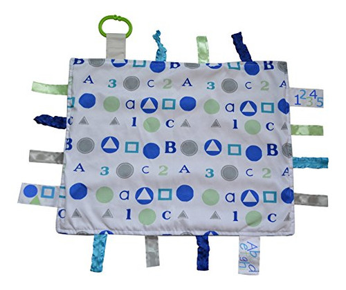 Baby Jack Blankets ABC Sensory Educational Tag Blanket Blue for Baby Boy 14x18 Lovey
