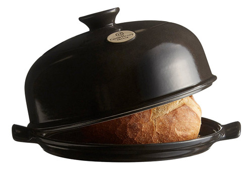 """Emile Henry Flame Bread Cloche, 13.2 x 11.2"""", Charcoal"""