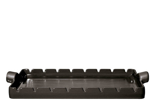 """Emile Henry Flame BBQ Kabob Grilling Stone and Skewers, 16.5 x 9.8"""", Charcoal"""