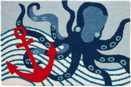 Nautical Octopus and Anchor in Deep Blue Sea Jellybean Accent Area Rug