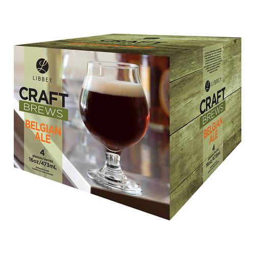 Libbey Craft Brews 16 Ounce Clear Belgian Ale Glass Set, 4-Piece