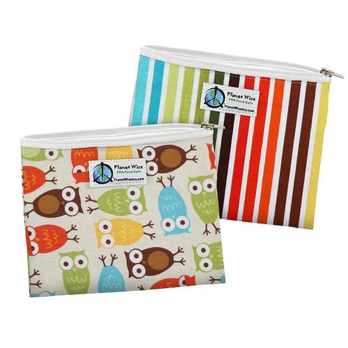 Planet Wise Zipper Sandwich Bags, 2 Count, Owl/Earth Stripe