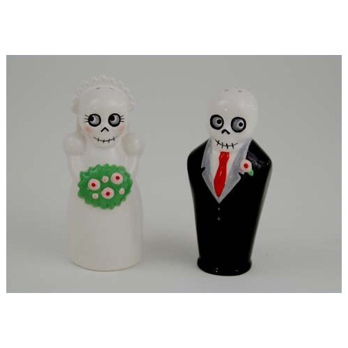 Newlydeads Bride and Groom Ceramic Salt and Pepper Shakers