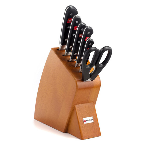 Classic 7 Piece Jumbo Studio Bamboo Knife Block Set Finish: Cherry