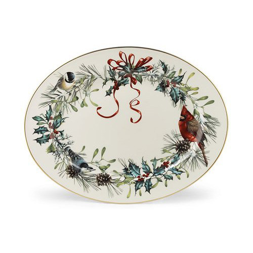 "Lenox Winter Greetings 16"" Oval Platter"