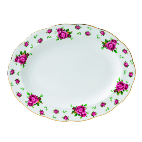 Royal Albert New Country Roses Formal Vintage Oval Platter, 13-Inch, White