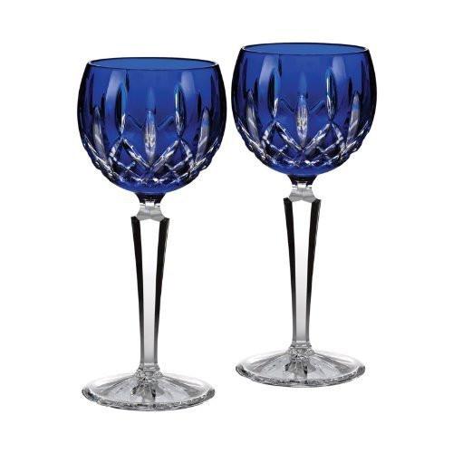 Waterford Crystal Lismore Cobalt Hock Wine, PAIR, New in Waterford Box