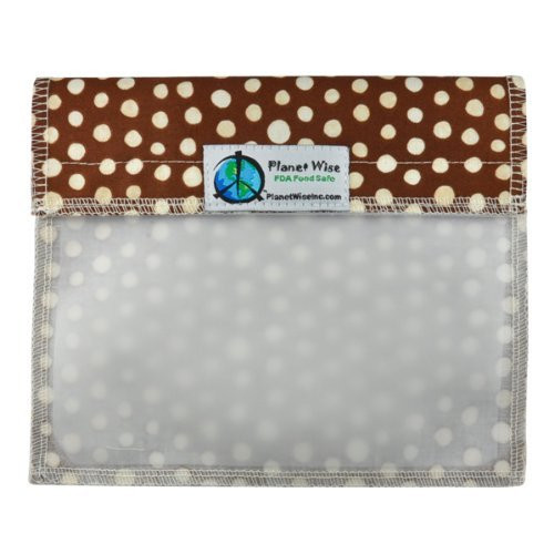 Planet Wise Sandwich and Snack Bags (Window Sandwich Bag, Brown Dot)