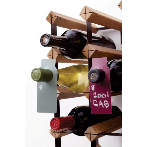 Two-Sided Green and Burgundy Wine Chalkboard Bottle Tags, Set of 40
