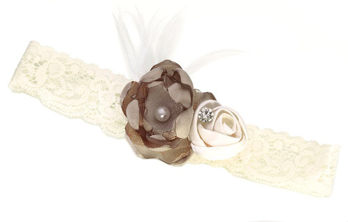 Lillian Rose Vintage Lace Garter, Ivory and Taupe
