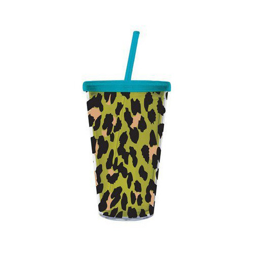 Cypress Insulated Cup w/Straw 17oz, Green Leopard
