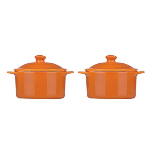 Mario Batali by Dansk Stoneware 10-Ounce Individual Round Casserole Set of 2, Persimmon