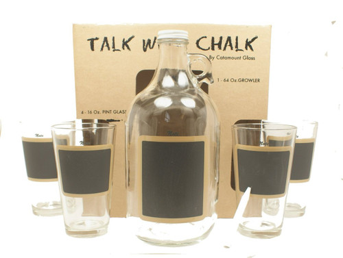 "Catamount Glassware 5-Piece ""Talk With Chalk"" Growler Set, Black Chalkboard"