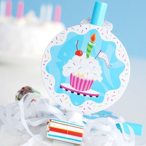 Glitterville Birthday Party Blow-out with Cupcake Medallion, Set of 6