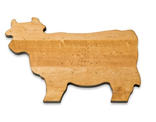 J.K. Adams 14-Inch-by-10-Inch Maple Wood Cutting Board, Cow-Shaped