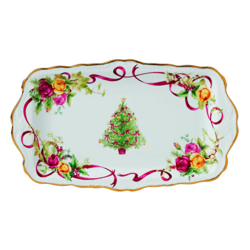 Old Country Roses Christmas Tree Sandwich Tray