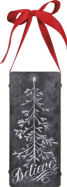 Primitives Chalk Sign - Believe Tree