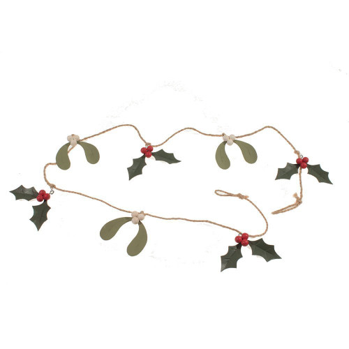 """Holly & Mistletoe Garland, Made of Tin & Jute with Red Berries, 48"""" Long"""