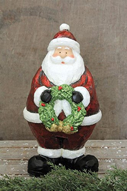 Resin Santa Claus Holding Wreath Country Christmas Holiday Home Décor