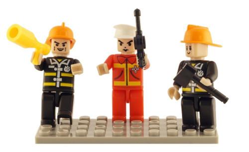 Building Block Mini-Figurines Set- Fire Brigade (Set of 3)