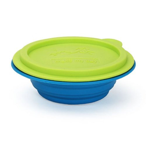 Make My Day All Gone Collapsible Bowl, Blue and Green