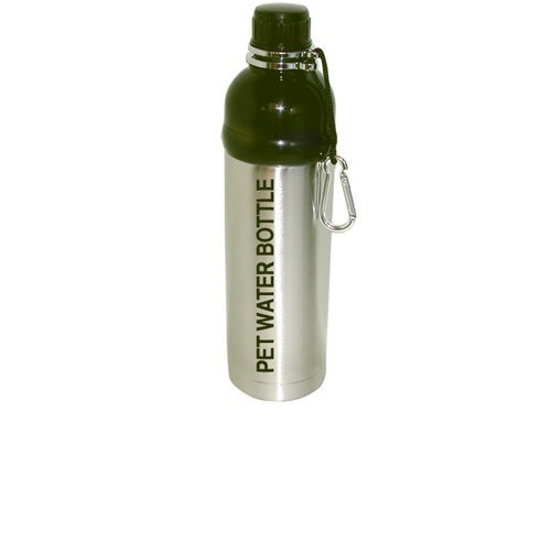 Good Life Gear Stainless Steel Pet Water Bottle, 24-Ounce, Brushed Silver Design